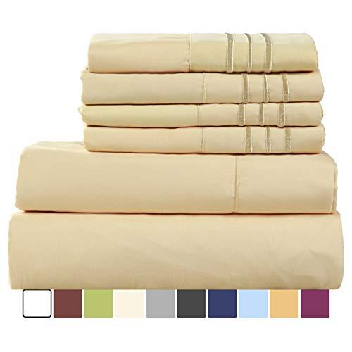 EASELAND 6 Pieces 1800 Thread Count Microfiber Bed sheet Set Wrinkle Fade ResistantDeep PocketHypoallergenic Bedding SetKingGolden