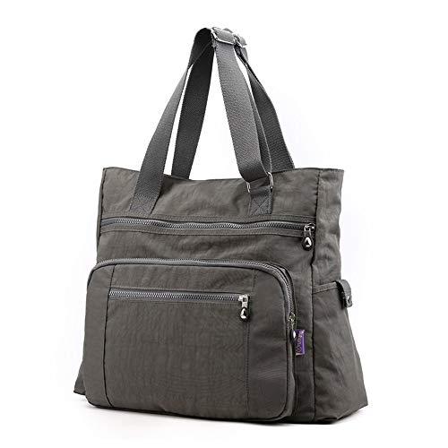 (Multi Pocket Nylon Totes Handbag Large Shoulder Bag Travel Purse Bags For Women (X-Grey))