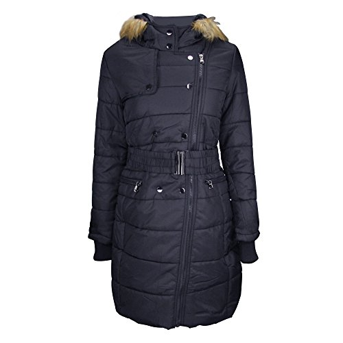 Fur Trimmed Hood Jacket (Women's Quilted Puffer Jacket Coat With Faux Fur Trimmed Hood Navy XXL)