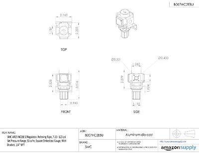 "SMC AR25-N02BE-Z Regulator, Relieving Type, 7.25 - 123 psi Set Pressure Range, 53 scfm, Square Embedded Gauge, With Bracket, 1/4"" NPT"