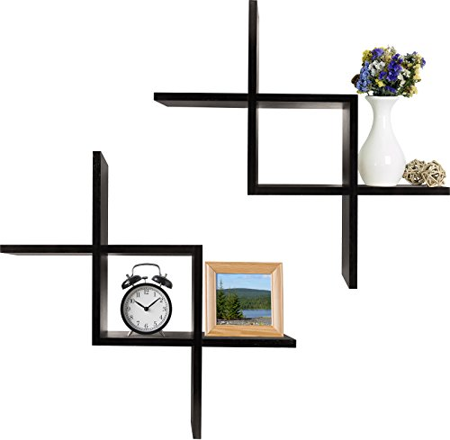 Greenco Criss Cross Intersecting Wall Mounted Floating Shelves- Espresso Finish - Set of 2 criss cross intersecting floating shelves Made of durable MDF laminate. Beautiful Espresso finish that suits almost any decor Easy to mount with all necessary hardware Included. Hardware is not visible when mounted - wall-shelves, living-room-furniture, living-room - 41KezGVsjuL -