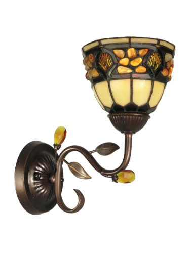 - Dale Tiffany TH90231 Pebblestone Wall Sconce Light, Antique Golden Sand and Art Glass Shade