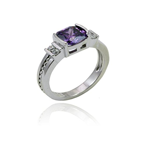 Blue Apple Co. Wedding Engagement Ring Half Bezel Cushion Simulated Amethyst Round Cubic Zirconia 925 Sterling Silver