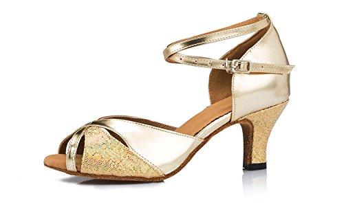 Abby By-ld002 Femmes Tango Latin Chaussures De Danse De Salon Partie De Mariage 5 Cm / 6 Cm Talon Évasé Peep-toe Pu Danse-chaussures Or