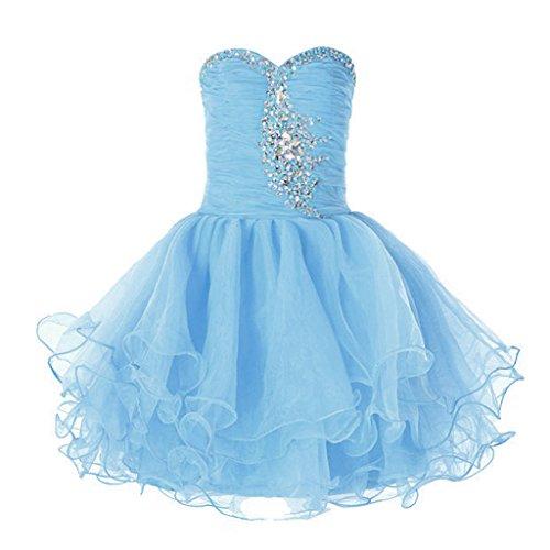 [FAIRY COUPLE Little Girl's Organza Stapless Junior Bridesmaid Flower Girl Dress K0105 6 Sky Blue] (Fairy Dress For Kids)