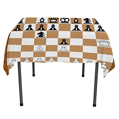 Board Game Camping Tablecloth Opening Position on Chessboard Letters Numbers Squares s Print Brown Pale Brown Black tablecloths Party Decorations Rectangular Tablecloth 52 by 70 inch -