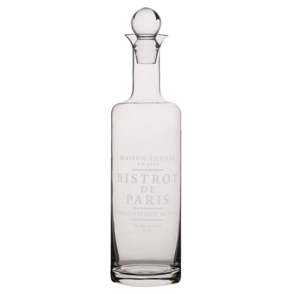 Glass Bistrot De Paris Etched 75cl Carafe Decanter Jug with Ball Stopper