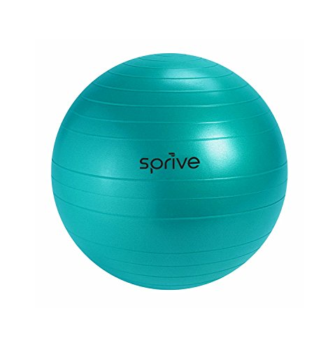 Anti-Burst Fitness Ball (65 cm), Sprive Globe with Foot Pump, Ribbing for Enhanced Grip, Eco-Friendly, Durable