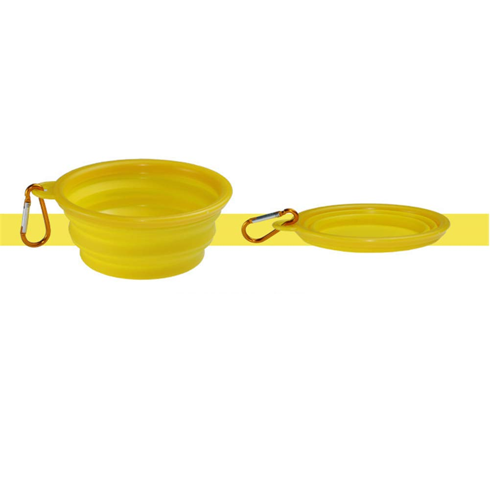 Pet TPE Portable Folding Bowl,The Bowl is Divided into Two Parts  Black Frame and color Frame (The Same color in The Frame Bowl),Yellow,S
