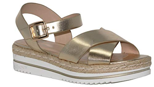 MVE Shoes Women's Spadrille Flatform Strappy Open Toe, lt Gold Size 10