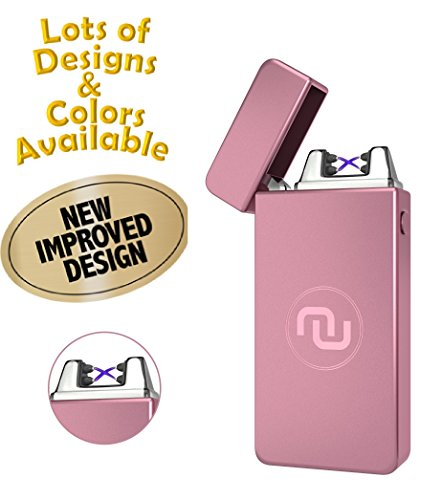 Novelty Wares - USB Flameless Plasma Dual Arc Rechargeable Windproof Cigarette Lighter Charging Cable Gift Box (Rose Gold)