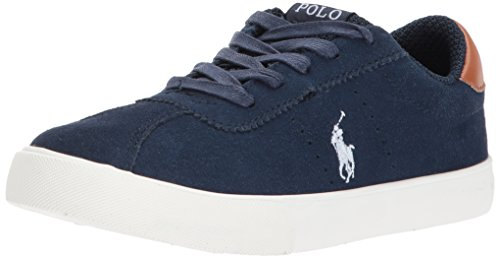 Polo Ralph Lauren Kids Boys' Hadley Sneaker, Navy Suede White Pop, 12.5 Medium US Little Kid