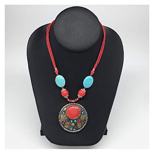 WatanGems 1pc,Turkmen Necklace Pendant Statement Tribal Round Red Coral Inlay (Synthetic) Pendant Beaded Necklace, Synthetic Turquoise Handmade from Afghanistan, 20-22