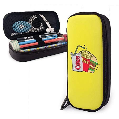 Pencil Case Junk Food and A Diet Coke Big Capacity Leather Pencil Bag Durable Students Stationery Zipper for School/Office