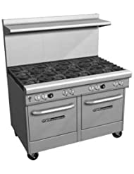 Southbend 4482EE 3CR 48 Ultimate Restaurant Gas Range W 2 Wavy Grate Burners 36 Right Charbroiler 2 Space Saver Ovens