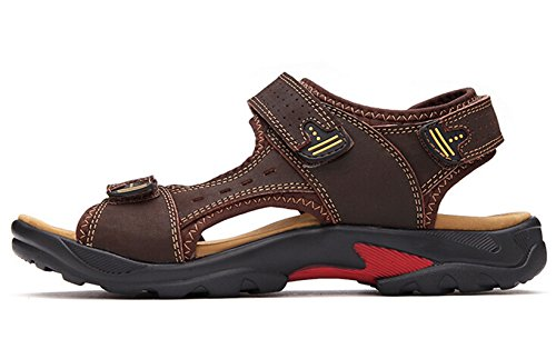 Brown Sandal Leather Gladiator Strap DADAWEN Dark Men's xYqvcZBwO