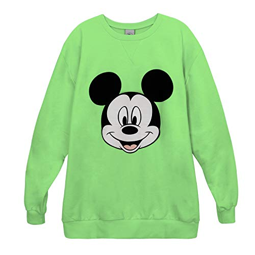 Crew Light T Green X Color Printed Mickey Neon Disney Pullover Neck shirt Ililily wpxYZS4PqY