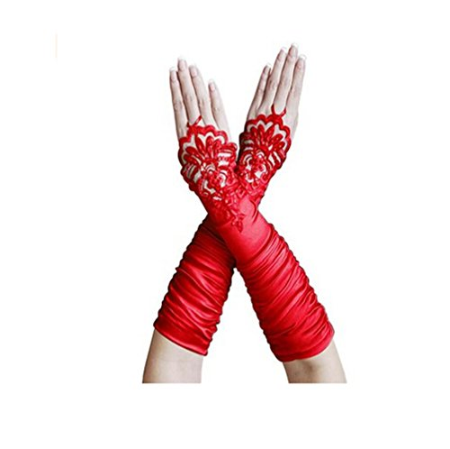 Fashionclubs Women Fingerless Lace Embroidered Bridal Satin Gloves -