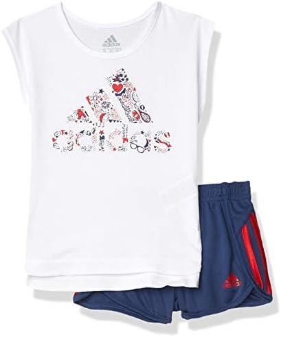 ガールズ スリーブ Tシャツ & スポーツ ショートウェアセット