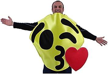 Disfraz de Emoticono Guiño con Beso amarillo para adultos: Amazon ...
