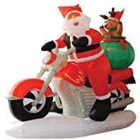 BZB Goods 6 Foot Long Lighted Christmas Inflatable Santa Claus on Motorcycle and Reindeer Yard Decoration
