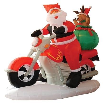 Amazon.com: 6 foot mucho Lighted de Navidad sobre una moto y ...