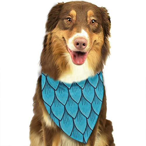 YanHill Blue Fish Scales Pet Bandana Triangle Dog Cat Neckerchief Bibs Scarfs Accessories for Pet Cats and Baby Puppies