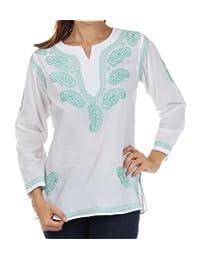 Sakkas Paisley Embroidered Cotton Long Sleeve Blouse