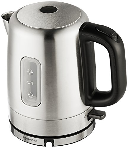 AmazonBasics Stainless Steel Portable Electric Hot Water Kettle - 1 Liter, Silver (1 Liter Electric Tea Kettle)