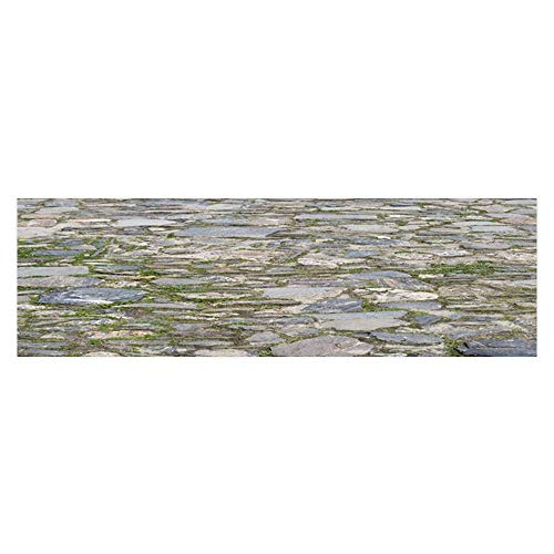 (Dragonhome Aquarium Background Stone Pavement Ground with Grass Wallpaper Fish Tank Backdrop Static Cling L29.5 x H21.6)