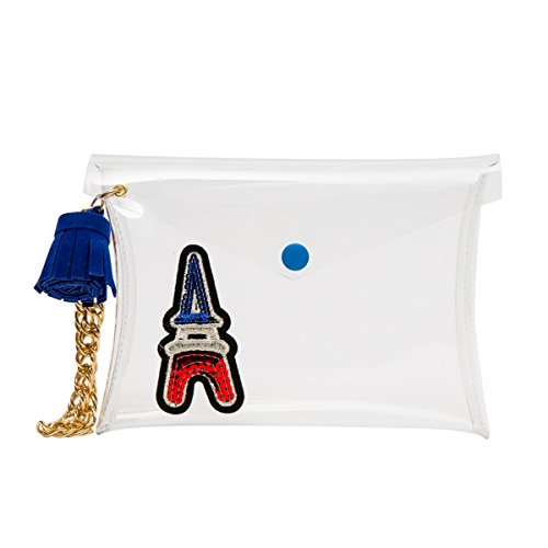 Zarapack bolso de mano bolso transparente claro para mujer de embrague True Color cadena hombro bolsa, estilo 4 (transparente) - BA931 estilo 1