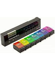 Foubiss - Tablettenbox 7 dagen met drukknop - BPA-vrij - medicijndoos grote vakken - perfect voor onderweg - pillendoos 7 vakken 's ochtends - kleurrijk
