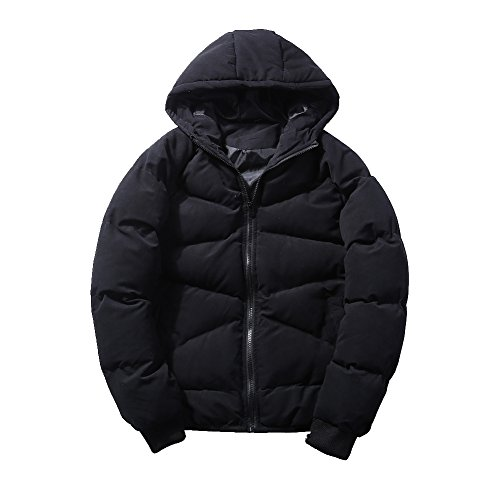 Hooded Coat Black Winter Men's Padded Puffer Coat Warm Jacket Quilted Lsm Outwear wvtSqW