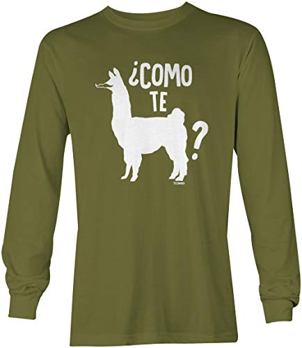 Como Te Llama - Funny Spanish Cinco De Mayo Unisex Long Sleeve Shirt (Olive, Large)