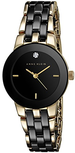 Anne Klein Women's AK/1610BKGB Diamond Dial Gold-Tone and Black Ceramic Bracelet Watch by Anne Klein