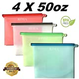 [Large Size] Reusable Silicone Food Storage Bags, 50 OZ/1.5L/6 cups, Airtight Zip Seal Versatile Bags for Cooking, Fruit, Leftover, Lunch, Snack, Sandwich, Sous Vide, Soup. (Set of 4)
