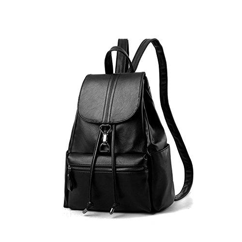 NICOLE&DORIS Moda Bolsa para la escuela Viajar Mochila Mujer Bolsa de hombro Cartera Chicas PU Cuero Negro Negro 1