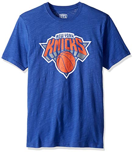 NBA New York Knicks Male OTS Slub Distressed Tee, Royal, Medium