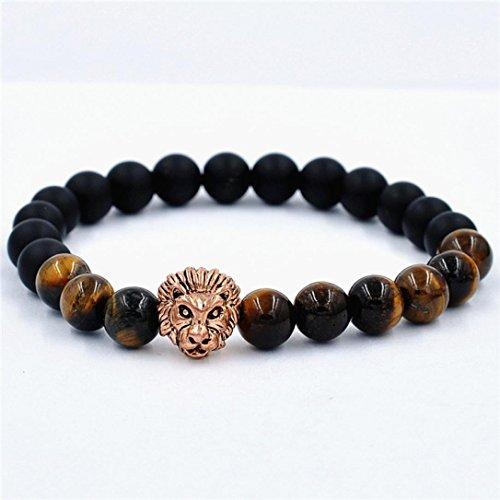 Lucky Rose Necklace (Creazy Women Men Bracelet Lion Elastic Beaded Bracelet Tibet Charm Lucky Bracelets (rose gold))