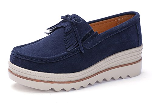 (Rainrop Women Platform Slip On Loafers Shoes Comfort Suede Moccasins Fashion Casual Wedge Sneakers Blue)