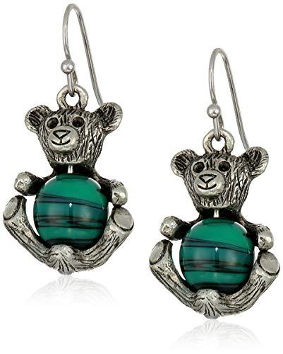 1928 Jewelry Women's Pewter Round Semi Precious Green Malachite Teddy Bear Wire Earrings, Green, One Size (Pewter Bears Teddy)