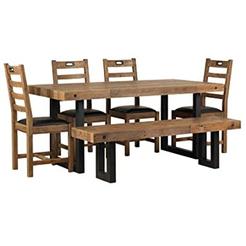 One Home Furniture Rustic Industrial Wood Dining Table Chairs And