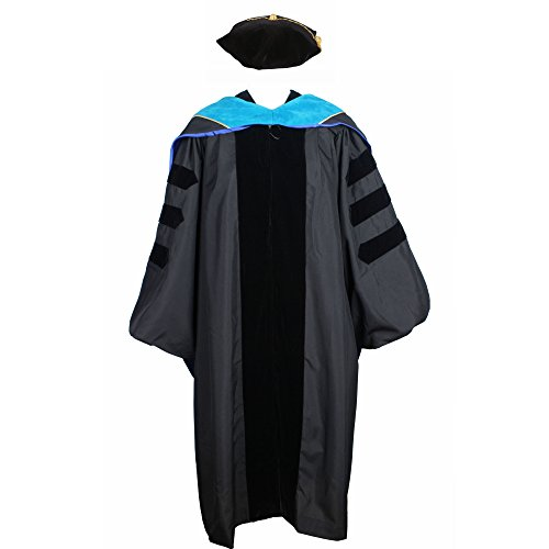 GraduationService Deluxe Classic Doctoral Graduation Gown,Hood and Tam Package Unisex Phd Gown (Graduation Ph D Gown)