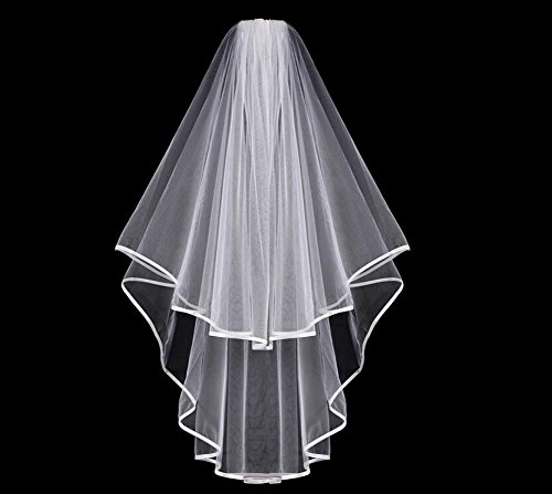 1PCS Double Layer Circular Ribbon Bridal Wedding Veil With Comb and Double Ribbon Edge(White)