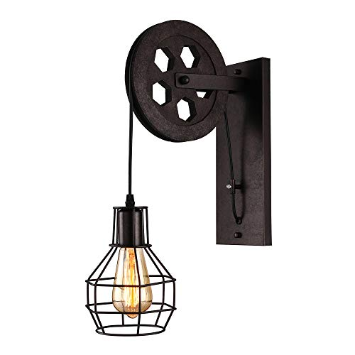 BAYCHEER 1 Light Wall Sconce Keyed Socket Pulley LED Industrial Wall Sconces Retro Wall Lights Fixture for Indoor Lighting Barn Restaurant in Rust Finished from BAYCHEER