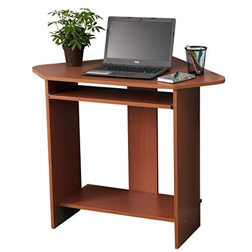 Fineboard Home Office Compact Corner Desk, Red Walnut Best Selling Fineboard