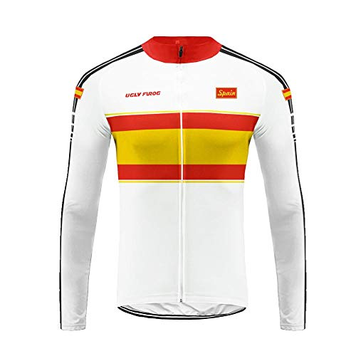 (Uglyfrog HUSChangXDS14 Mens Thermodream Cycling Jersey National Flag Pattern Design Full Sleeve Thermal Roubaix Cycling Jacket Bicycle Equipment)