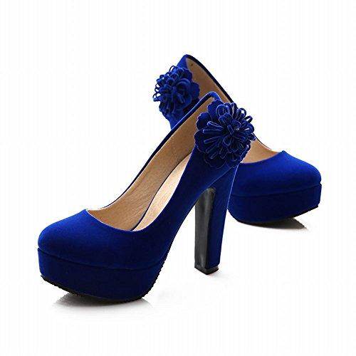 Carolbar Donna Applique Platform Sexy Charm Evening Party Chic Tacco Alto Scarpe Eleganti Blu