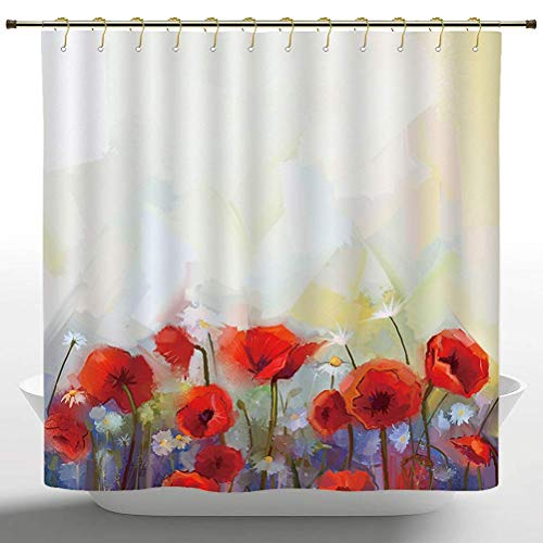 Afagahahs Shower Curtain Watercolor Flower Decor Poppies Blossoms Meadow Wildflower Spring Season Red Ivory Orange Polyester Bathroom Shower Curtain Set with Hooks 66 x 72 in