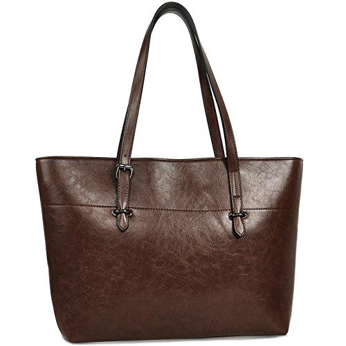 Coffee Shoulder Bag Handbag (Tote Bag,Women Vegan Leather Handbags with Large Capacity,Vintage Shoulder Bag by YAAMUU [L0002/coffee])